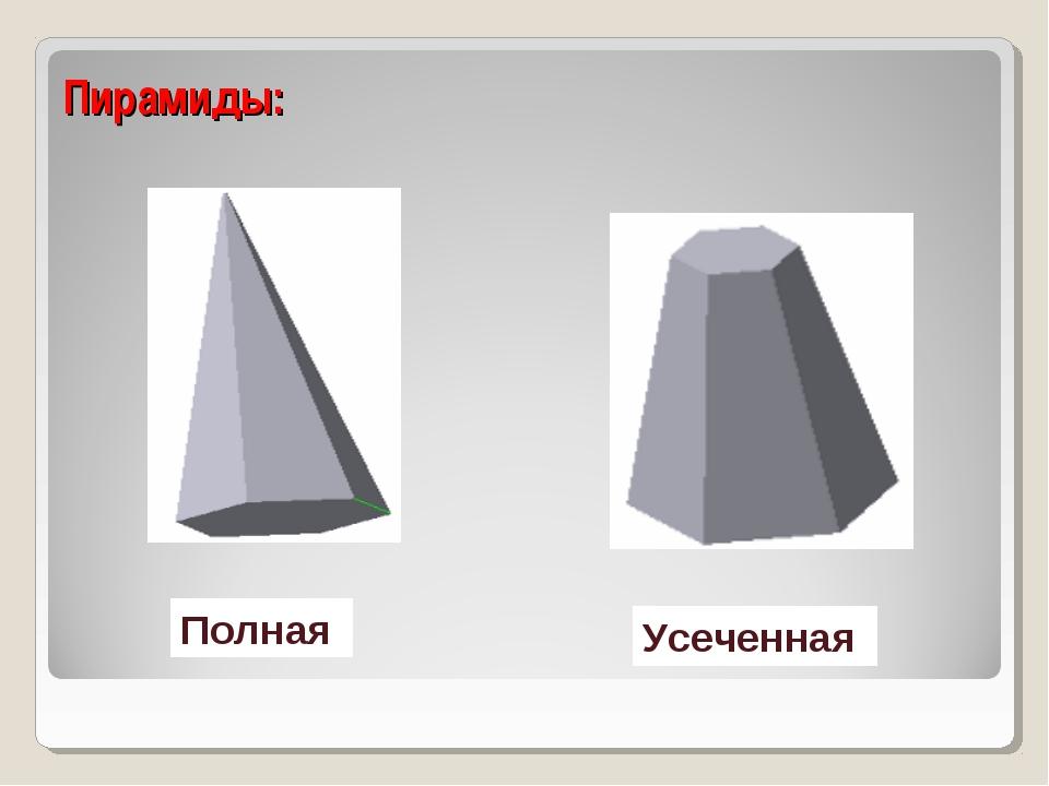Пирамиды: Полная Усеченная