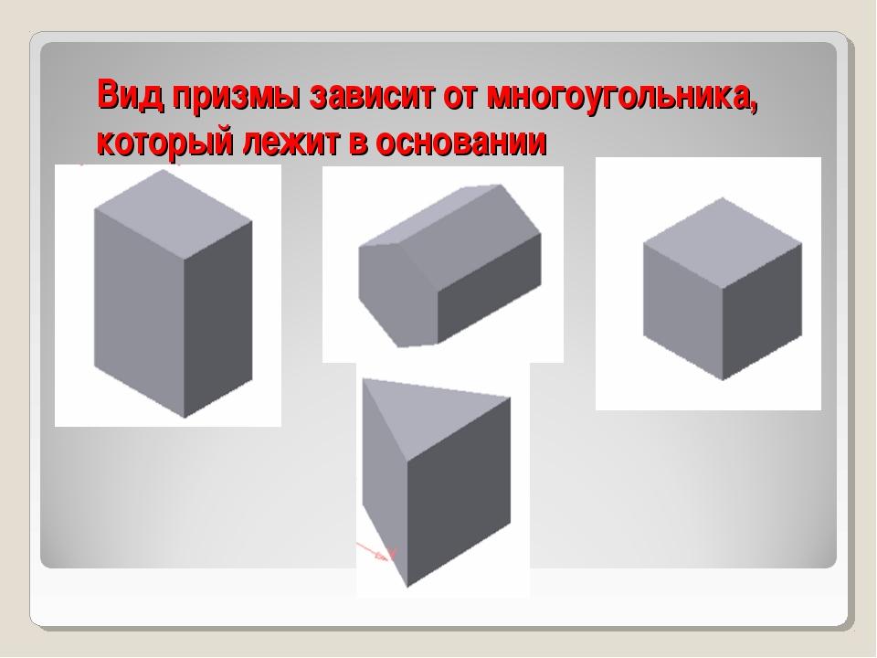 Вид призмы зависит от многоугольника, который лежит в основании