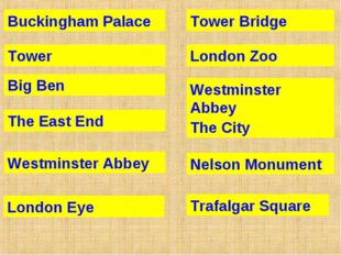 Buckingham Palace Tower Big Ben The East End Westminster Abbey London Eye Tow