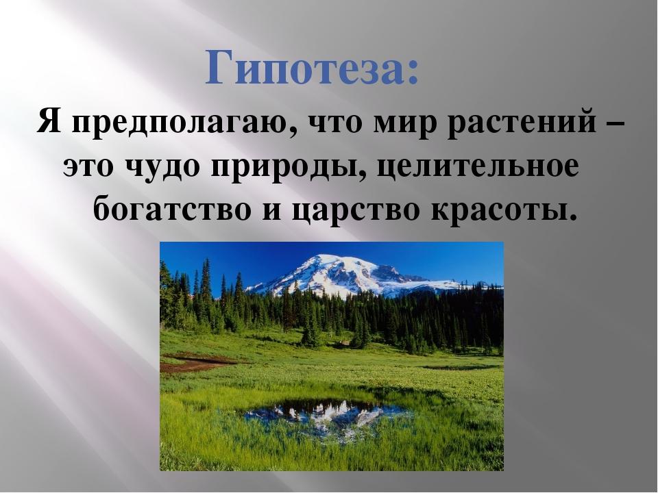Гипотеза: Я предполагаю, что мир растений – это чудо природы, целительное бог...