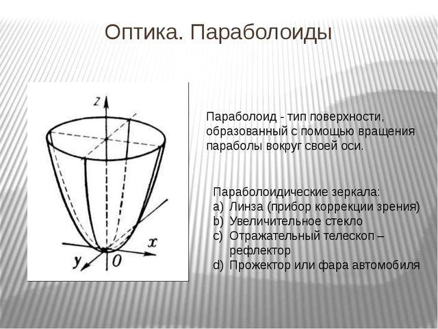 Оптика. Параболоиды