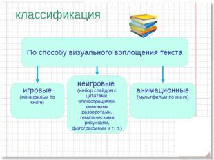 классификация По способу визуального воплощения текста игровые (минифильм по