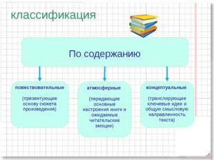 классификация По содержанию атмосферные (передающие основные настроения книги