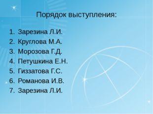Порядок выступления: Зарезина Л.И. Круглова М.А. Морозова Г.Д. Петушкина Е.Н.