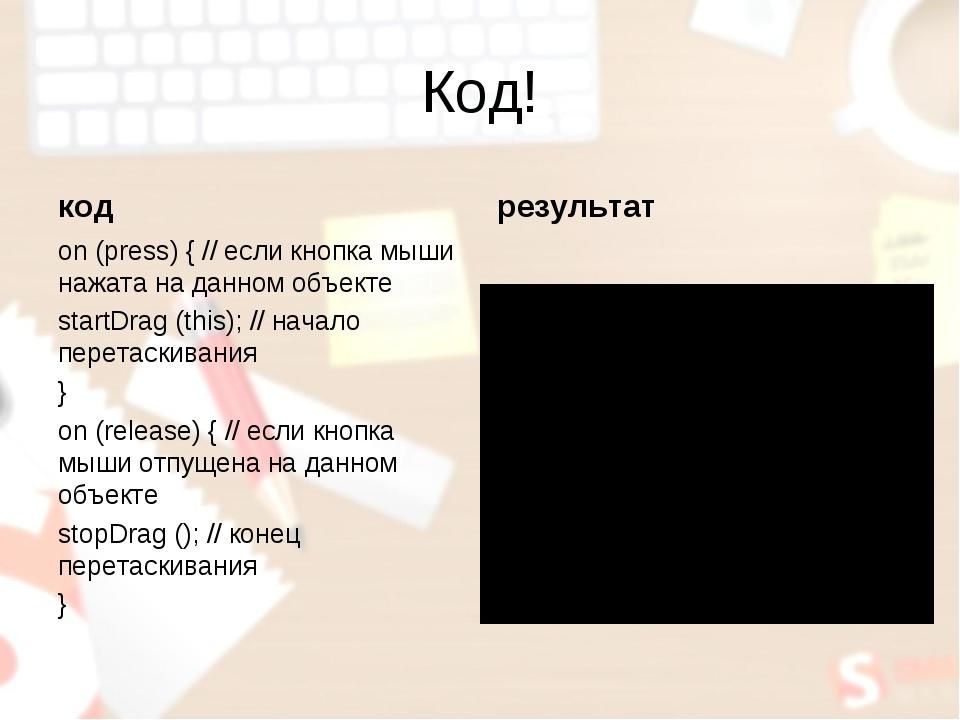 Код! код on (press) { // если кнопка мыши нажата на данном объекте startDrag...