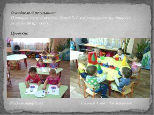 Ожидаемый результат: Патриотические чувства детей 2-3 лет развиваются в проце
