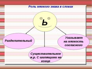 Разделительный Указывает на мягкость согласного Существительное ж.р. С шипящи