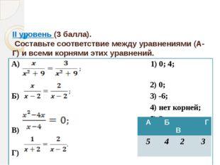 II уровень (3 балла). Составьте соответствие между уравнениями (А-Г) и всеми
