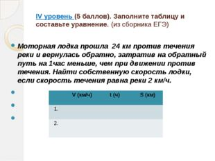 IV уровень (5 баллов). Заполните таблицу и составьте уравнение. (из сборника