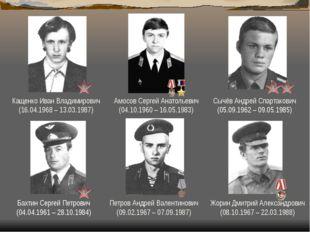 Амосов Сергей Анатольевич (04.10.1960 – 16.05.1983) Бахтин Сергей Петрович (0