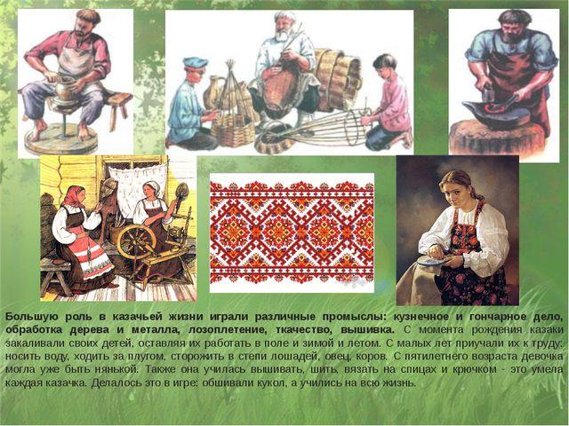 Большую роль в казачьей жизни играли различные промыслы: кузнечное и гончарно...