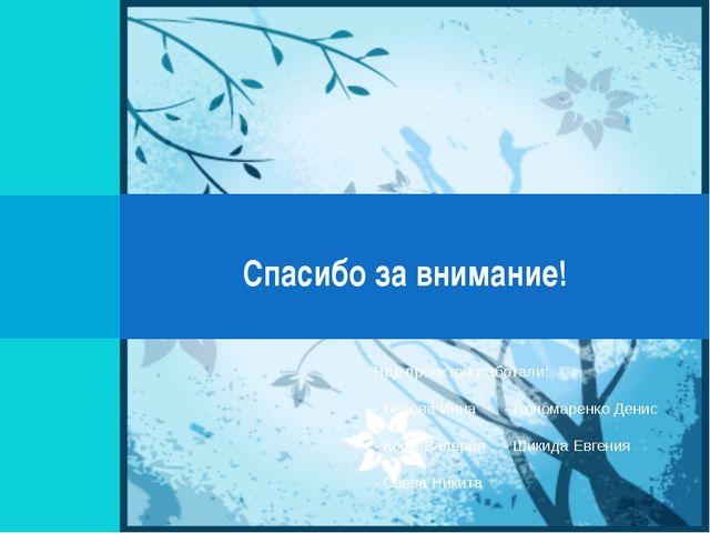 Спасибо за внимание! Над проектом работали: - Белова Инна - Пономаренко Ден...