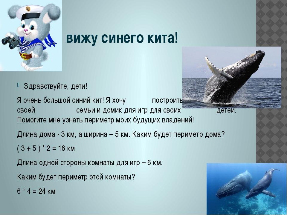 Я вижу синего кита! Здравствуйте, дети! Я очень большой синий кит! Я хочу по...