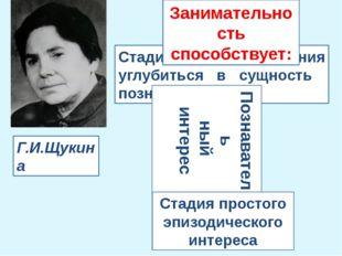 Г.И.Щукина Стадия простого эпизодического интереса Стадия стремления углубить