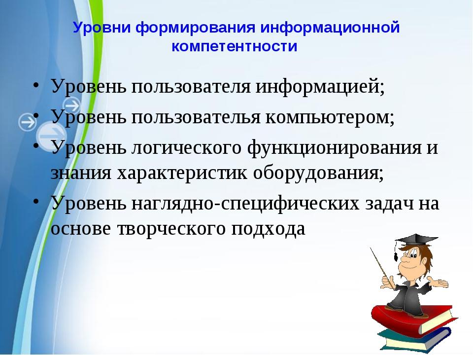 Уровни формирования информационной компетентности Уровень пользователя информ...