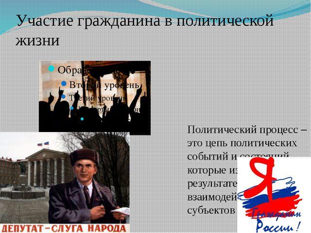 Участие гражданина в политической жизни Политический процесс – это цепь полит...