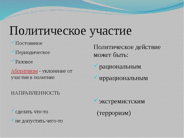 Политическое участие Постоянное Периодическое Разовое Абсентеизм - уклонение...