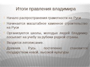 Итоги правления владимира Начало распространения грамотности на Руси Начинает