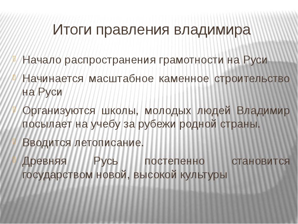 Итоги правления владимира Начало распространения грамотности на Руси Начинает...
