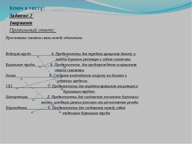 Ключ к тесту: Задание 2 1вариант Правильный ответ:  Проставьте линиями связи...