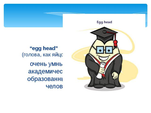 """очень умный, академически образованный человек """"egg head"""" (голова, как яйцо)"""