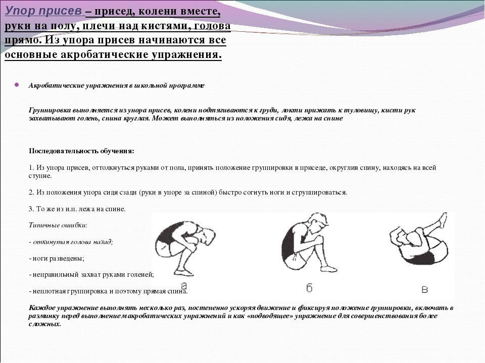 Акробатические упражнения в школьной программе Группировка выполняется из упо...
