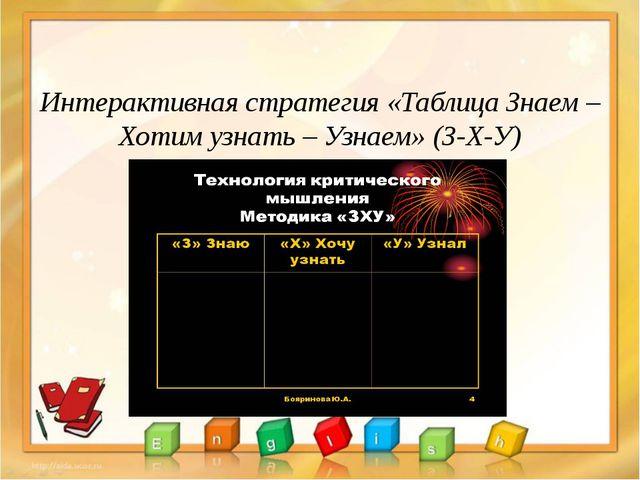 Интерактивная стратегия «Таблица Знаем – Хотим узнать – Узнаем» (З-Х-У)