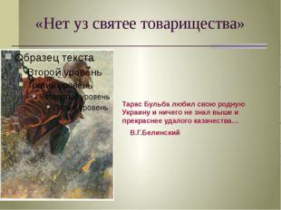 «Нет уз святее товарищества» Тарас Бульба любил свою родную Украину и ничего