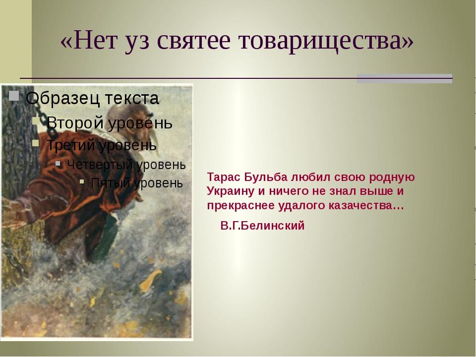 «Нет уз святее товарищества» Тарас Бульба любил свою родную Украину и ничего...