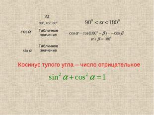 Косинус тупого угла – число отрицательное 300, 450, 600  Табличное значени
