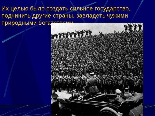Их целью было создать сильное государство, подчинить другие страны, завладеть...