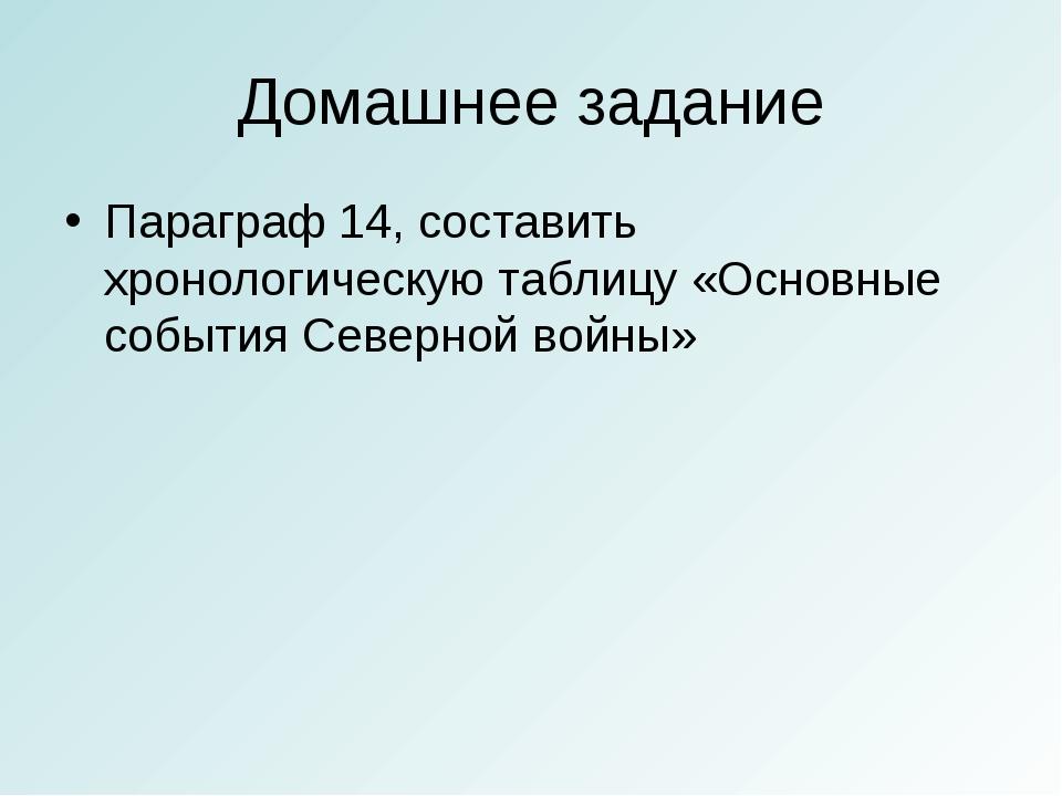 Домашнее задание Параграф 14, составить хронологическую таблицу «Основные соб...