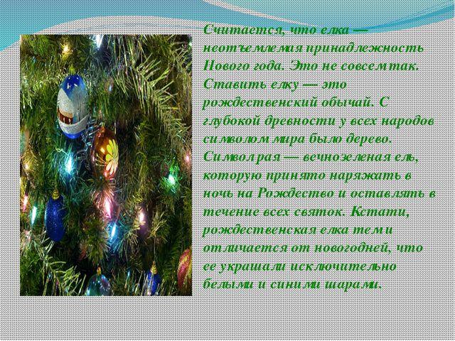 Считается, что елка — неотъемлемая принадлежность Нового года. Это не совсем...