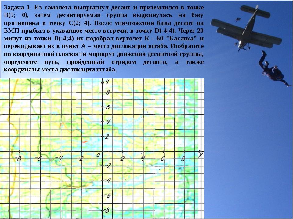 Задача 1. Из самолета выпрыгнул десант и приземлился в точке В(5; 0), затем д...