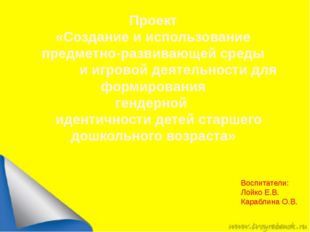 Воспитатели: Лойко Е.В. Караблина О.В. Проект «Создание и использование пред