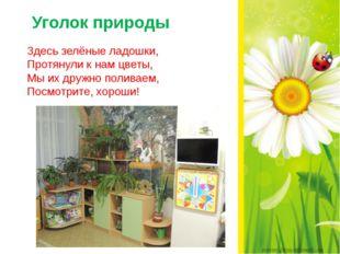 Здесь зелёные ладошки, Протянули к нам цветы, Мы их дружно поливаем, Посмотр