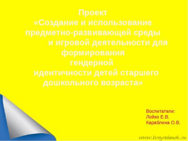 Воспитатели: Лойко Е.В. Караблина О.В. Проект «Создание и использование пред...