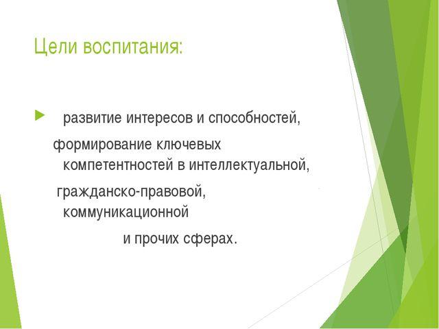 Цели воспитания: развитие интересов и способностей, формирование ключевых ком...