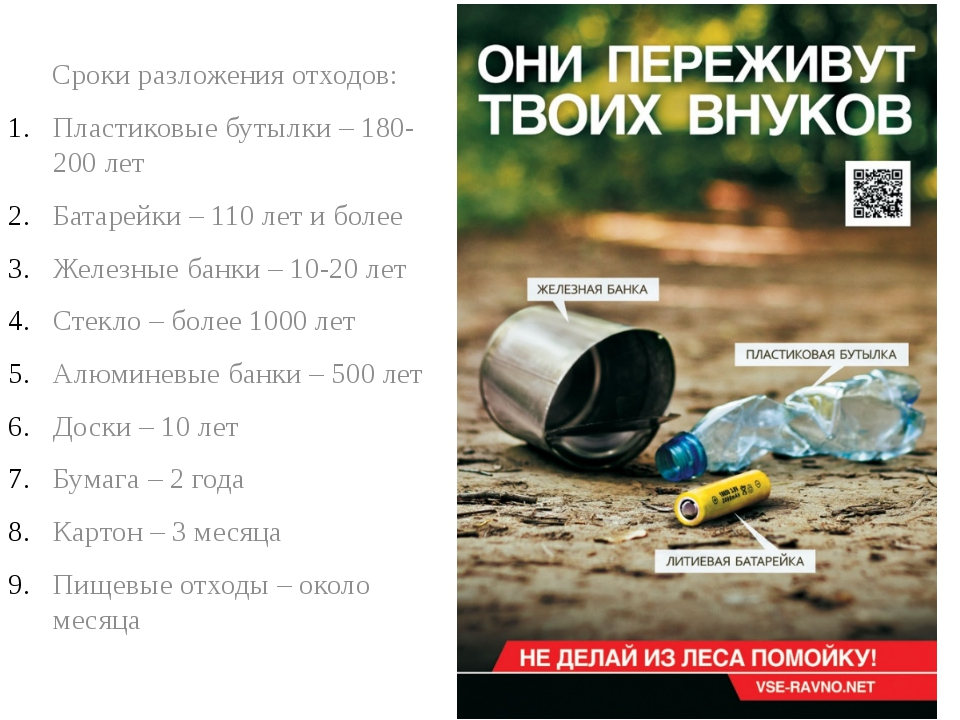 Сроки разложения отходов: Пластиковые бутылки – 180-200 лет Батарейки – 110 л...