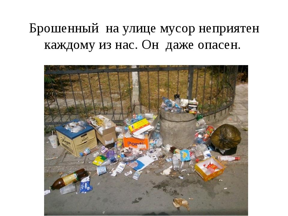 Брошенный на улице мусор неприятен каждому из нас. Он даже опасен.