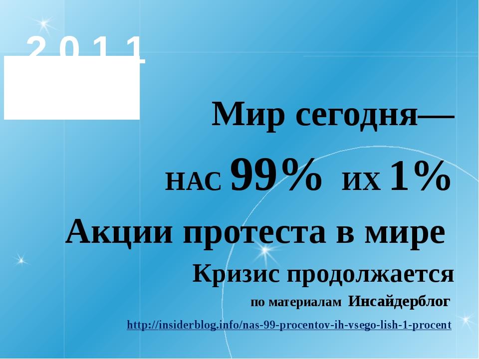 2 0 1 1 Мир сегодня— НАС 99% ИХ 1% Акции протеста в мире Кризис продолжается...