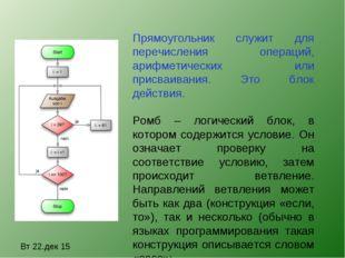 Вт 22.дек 15 Прямоугольник служит для перечисления операций, арифметических и