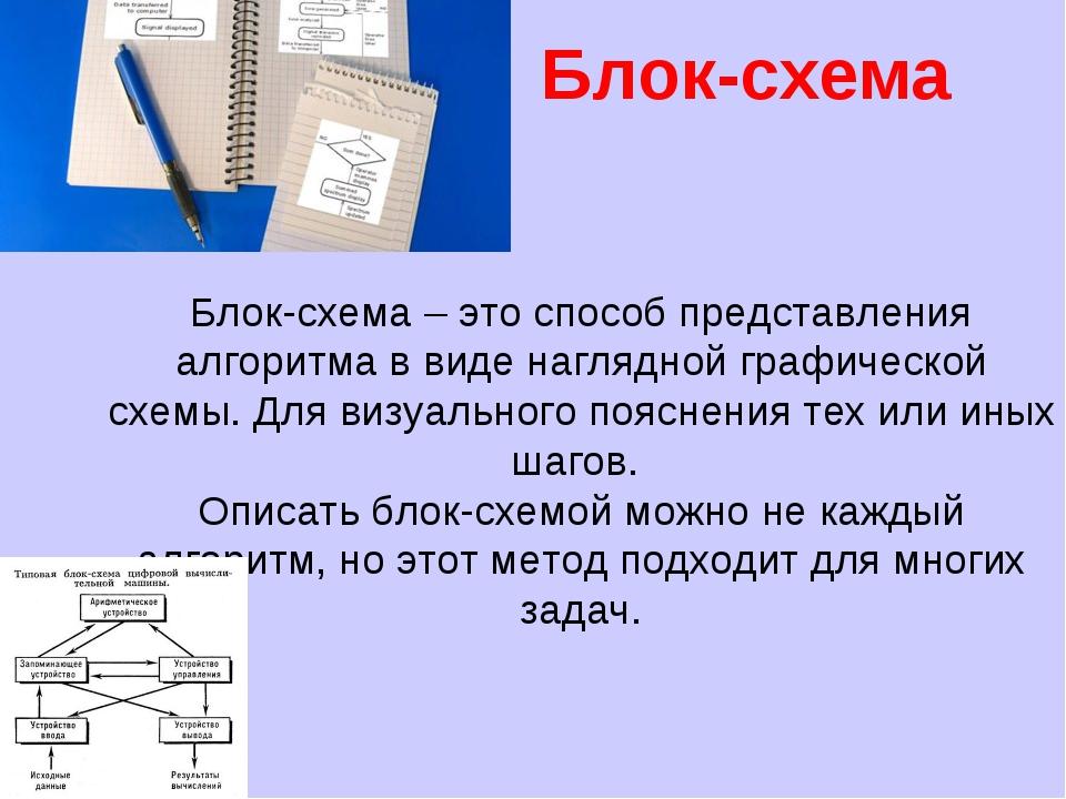 Вт 22.дек 15 Блок-схема Блок-схема – это способ представления алгоритма в вид...
