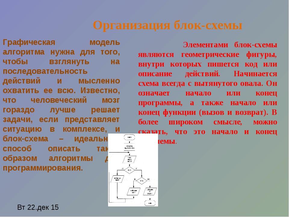 Элементами блок-схемы являются геометрические фигуры, внутри которых пишется...