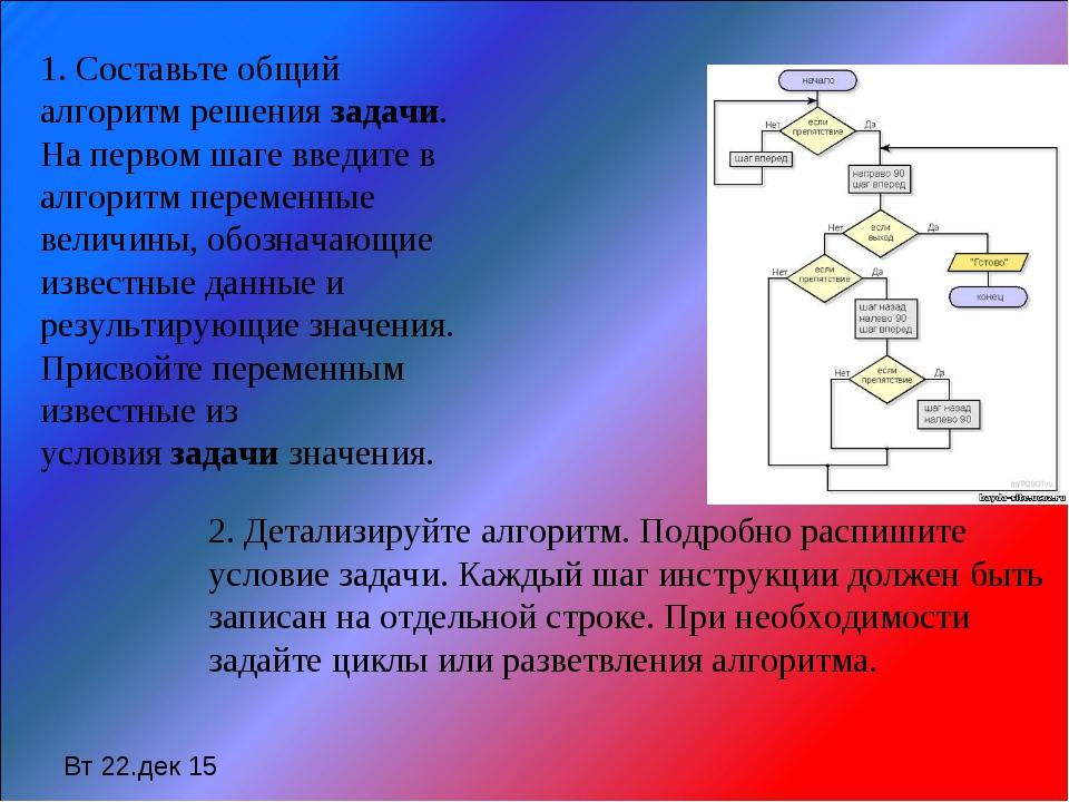 Вт 22.дек 15 1. Составьте общий алгоритм решениязадачи. На первом шаге введи...