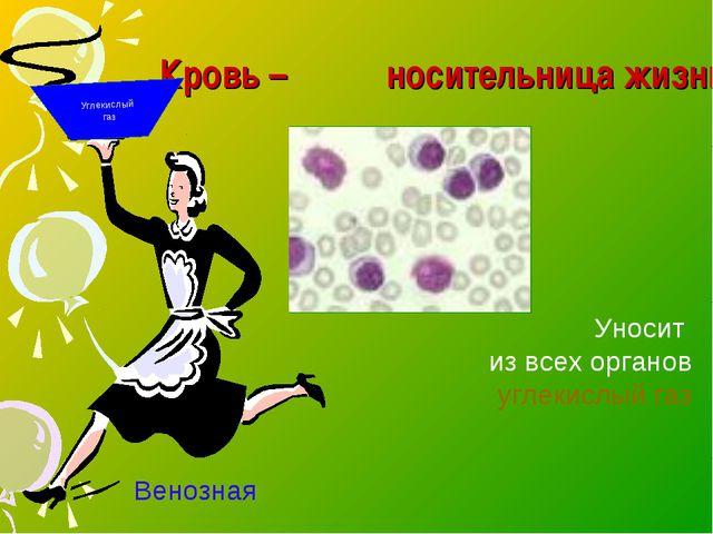 Кровь – носительница жизни Углекислый газ Уносит из всех органов углекислый г...