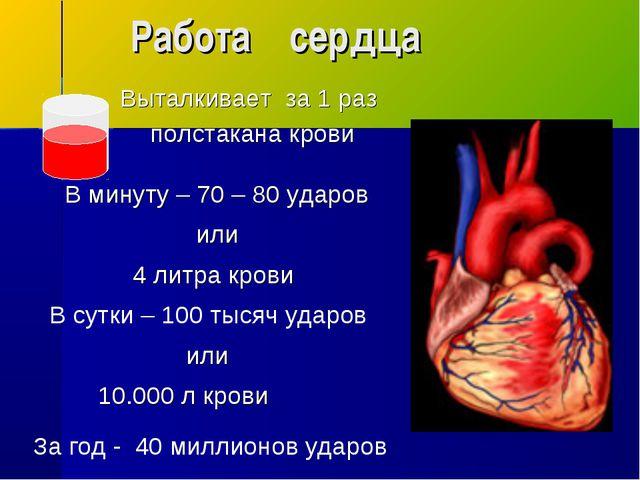 Работа сердца В сутки – 100 тысяч ударов За год - 40 миллионов ударов В минут...