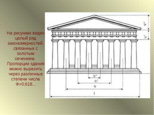 На рисунках виден целый ряд закономерностей, связанных с золотым сечением. Пр