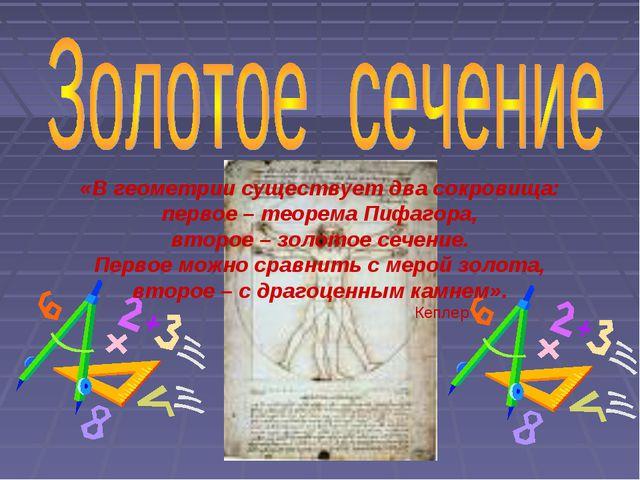 «В геометрии существует два сокровища: первое – теорема Пифагора, второе – зо...