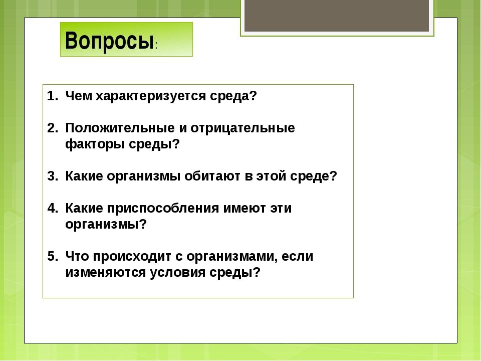 Вопросы: Чем характеризуется среда? Положительные и отрицательные факторы сре...